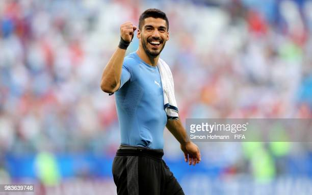 Luis Suarez of Uruguay celebrates victory following the 2018 FIFA World Cup Russia group A match between Uruguay and Russia at Samara Arena on June...