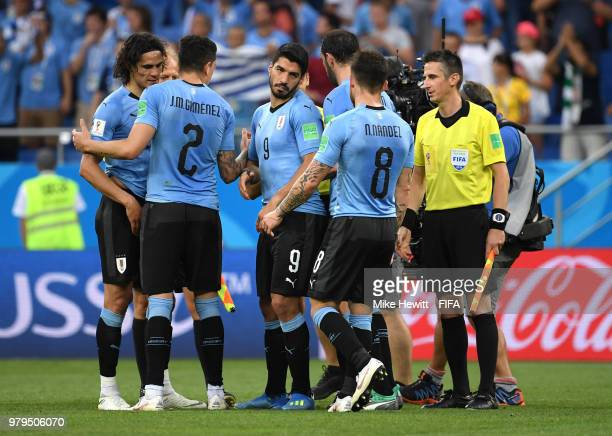 Luis Suarez of Uruguay celebrates victory with team mates during the 2018 FIFA World Cup Russia group A match between Uruguay and Saudi Arabia at...