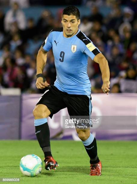 Luis Suarez of Uruguay controls the ball during a match between Uruguay and Bolivia as part of FIFA 2018 World Cup Qualifiers at Centenario Stadium...