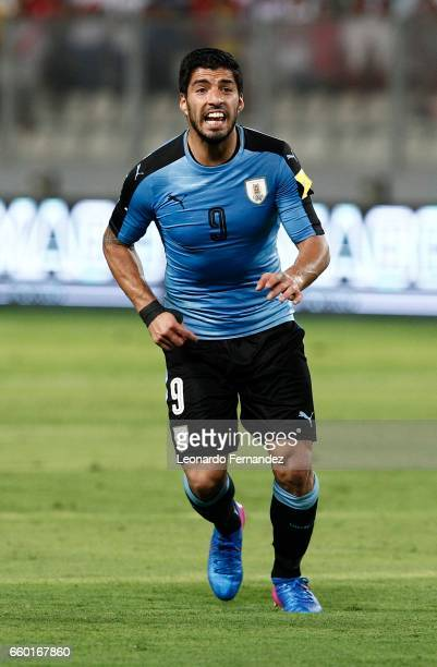 Luis Suarez of Uruguay gestures during a match between Peru and Uruguay as part of FIFA 2018 World Cup at Nacional Stadium on March 28 2017 in Lima...