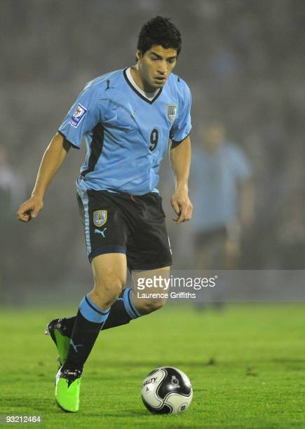 Luis Suarez of Uruguay in action duing the 2010 FIFA World Cup Play Off Second Leg Match between Uruguay and Costa Rica at The Estadio Centenario on...