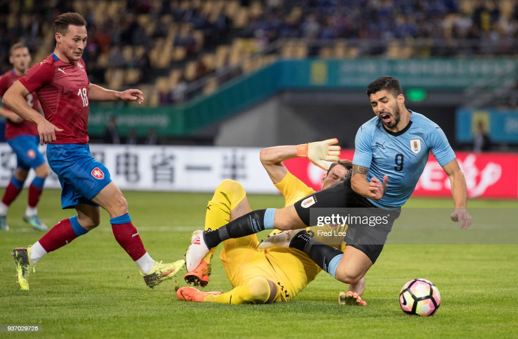 Luis Suarez #9 of Uruguay in action during 2018 China Cup International Football Championship between Uruguay and Czech Republic Republic at Guangxi Sports Center on March 23, 2018 in Nanning, China.
