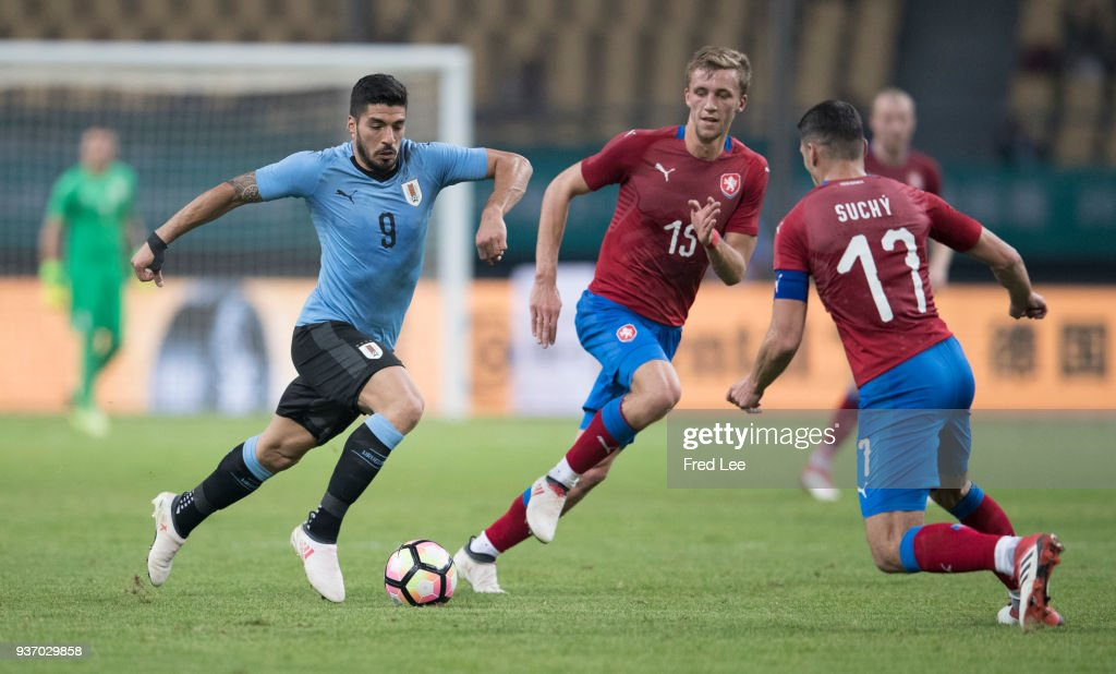 Luis Suarez #9 of Uruguay in action during 2018 China Cup International Football Championship between Uruguay and Czech Republic at Guangxi Sports Center on March 23, 2018 in Nanning, China.