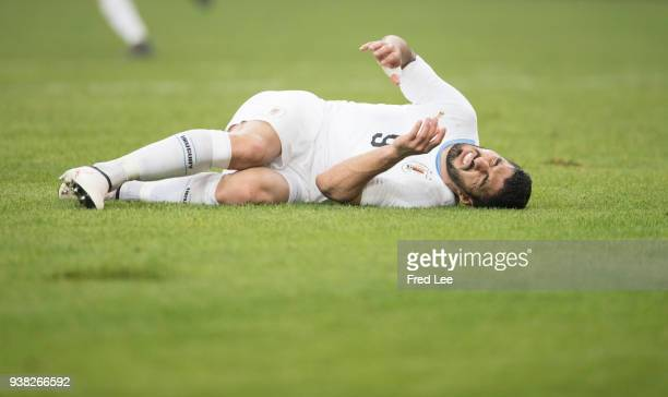 Luis Suarez of Uruguay in action during 2018 China Cup International Football Championship between Wales and Uruguay at Guangxi Sports Center on...
