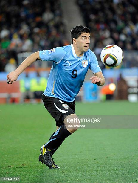 Luis Suarez of Uruguay in action during the 2010 FIFA World Cup South Africa Quarter Final match between Uruguay and Ghana at the Soccer City stadium...