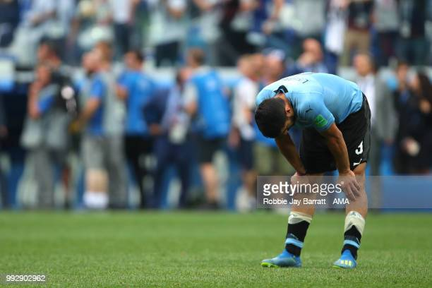 Luis Suarez of Uruguay looks dejected at the end of the 2018 FIFA World Cup Russia Quarter Final match between Uruguay and France at Nizhny Novgorod...