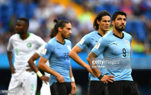 Luis Suarez of Uruguay looks dejected during the 2018 FIFA World Cup Russia group A match between Uruguay and Saudi Arabia at Rostov Arena on June 20...