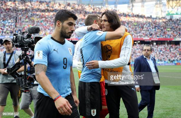 Luis Suarez of Uruguay looks dejected following his sides defeat in the 2018 FIFA World Cup Russia Quarter Final match between Uruguay and France at...