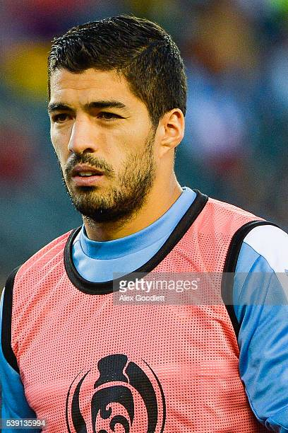 Luis Suarez of Uruguay looks on during a group C match between Uruguay and Venezuela at Lincoln Financial Field as part of Copa America Centenario US...