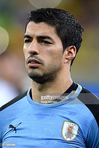 Luis Suarez of Uruguay looks on during a match between Brazil and Uruguay as part of 2018 FIFA World Cup Russia Qualifiers at Arena Pernanbuco on...