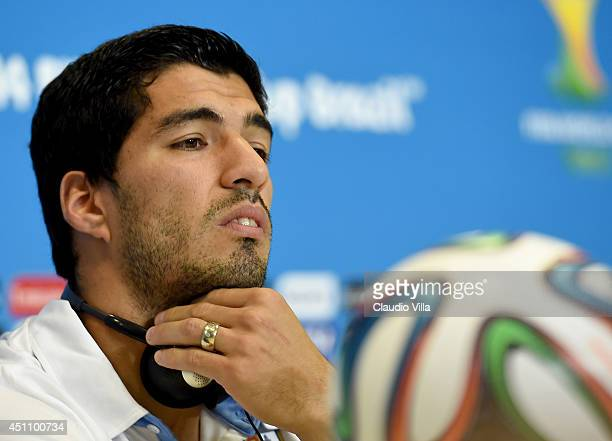 Luis Suarez of Uruguay looks on during press conference at the Dunas Arena in Natal on June 23 2014 in Natal Brazil