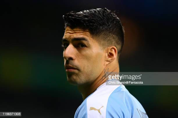 Luis Suarez of Uruguay looks on during the Copa America Brazil 2019 group C match between Uruguay and Ecuador at Mineirao Stadium on June 16 2019 in...
