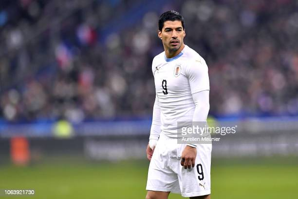 Luis Suarez of Uruguay looks on during the international friendly match between France and Uruguay at Stade de France on November 20 2018 in Paris...