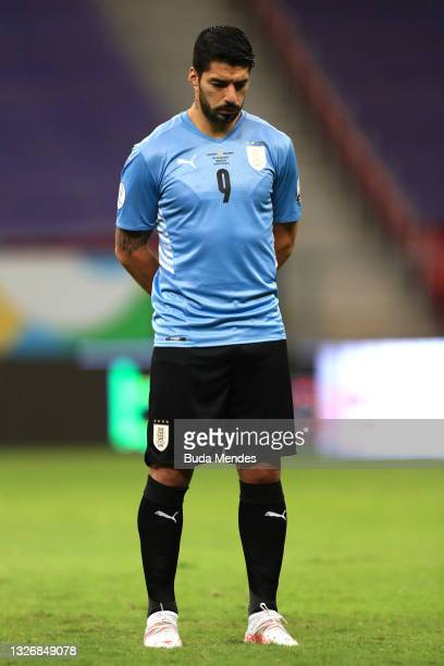 Luis Suarez of Uruguay looks on prior to a quarter-final match of Copa America Brazil 2021 between Colombia and Uruguay at Mane Garrincha Stadium on...