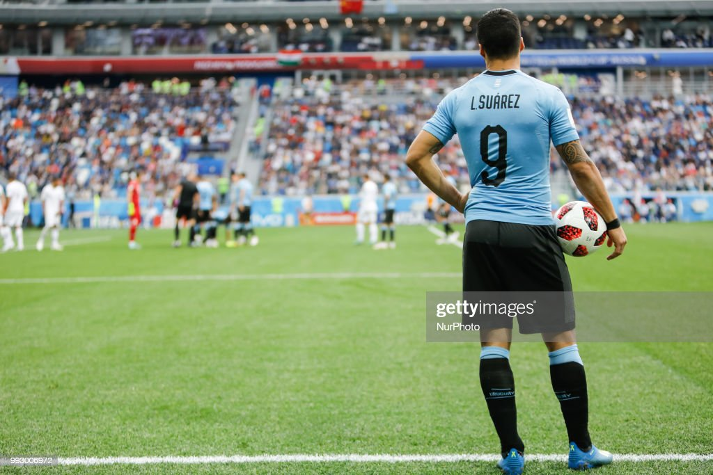 Luis Suarez (N9) of Uruguay national team looks on during the 2018 FIFA World Cup Russia Quarter Final match between Uruguay and France on July 6, 2018 at Nizhny Novgorod Stadium in Nizhny Novgorod, Russia.