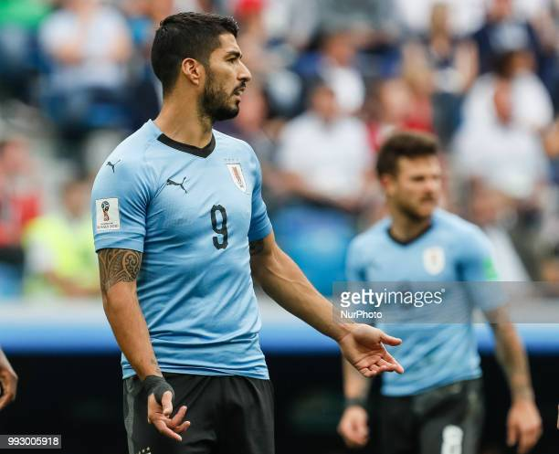 Luis Suarez of Uruguay national team reacts during the 2018 FIFA World Cup Russia Quarter Final match between Uruguay and France on July 6 2018 at...