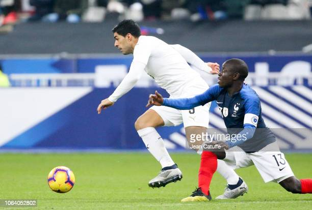 Luis Suarez of Uruguay N'Golo Kante of France during the international friendly match between France and Uruguay at Stade de France on November 20...