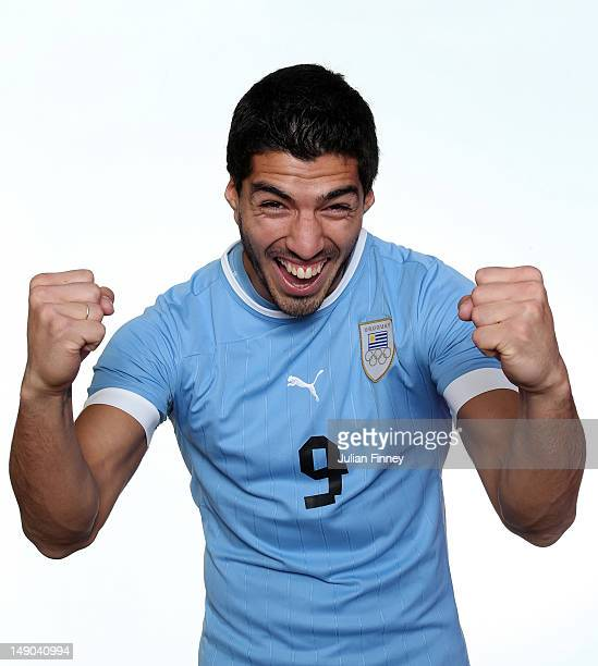 Luis Suarez of Uruguay poses during a portrait session on July 22 2012 in Manchester England