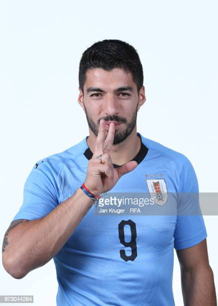 Luis Suarez of Uruguay poses for a portrait during the official FIFA World Cup 2018 portrait session at on June 12 2018 in Nizhniy Novgorod Russia