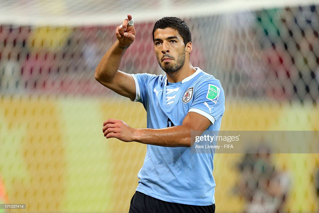 Luis Suarez of Uruguay reacts after scoring a goal in the 82nd minute during the FIFA Confederations Cup Brazil 2013 Group B match between Uruguay and Tahiti at Arena Pernambuco on June 22, 2013 in Recife, Brazil.
