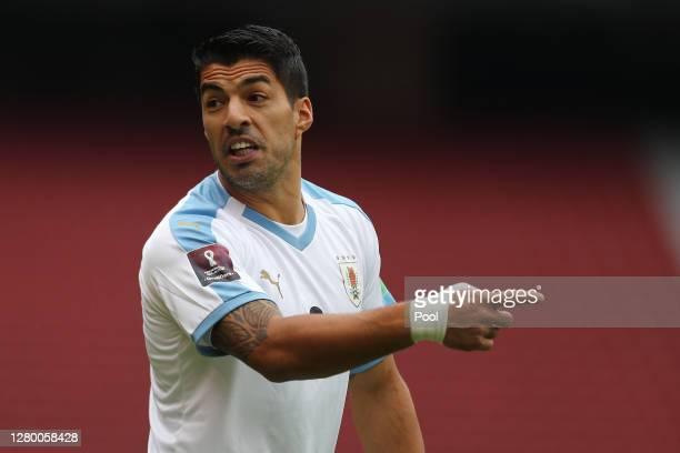 Luis Suarez of Uruguay reacts during a match between Ecuador and Uruguay as part of South American Qualifiers for Qatar 2022 at Rodrigo Paz Delgado...