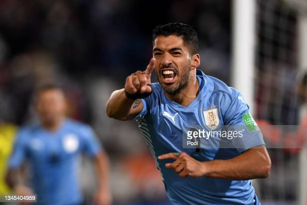 Luis Suarez of Uruguay reacts during a match between Uruguay and Colombia as part of South American Qualifiers for Qatar 2022 at Parque Central...