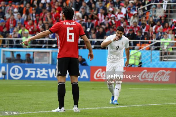 Luis Suarez of Uruguay reacts during the 2018 FIFA World Cup Russia group A match between Egypt and Uruguay at Ekaterinburg Arena on June 15 2018 in...