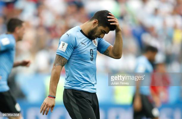 Luis Suarez of Uruguay reacts during the 2018 FIFA World Cup Russia Quarter Final match between Uruguay and France at Nizhny Novgorod Stadium on July...