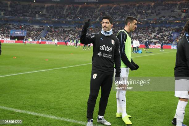 Luis Suarez of Uruguay reacts during the International Friendly match between France and Uruguay at Stade de France on November 20 2018 in Paris...