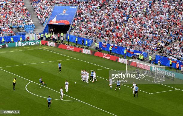 A female Russia Fan is pictured during the 2018 FIFA World Cup Russia group A match between Uruguay and Russia at Samara Arena on June 25 2018 in...