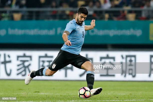 Luis Suarez of Uruguay shoots the ball during the 2018 China Cup International Football Championship match between Uruguay and Czech Republic at...