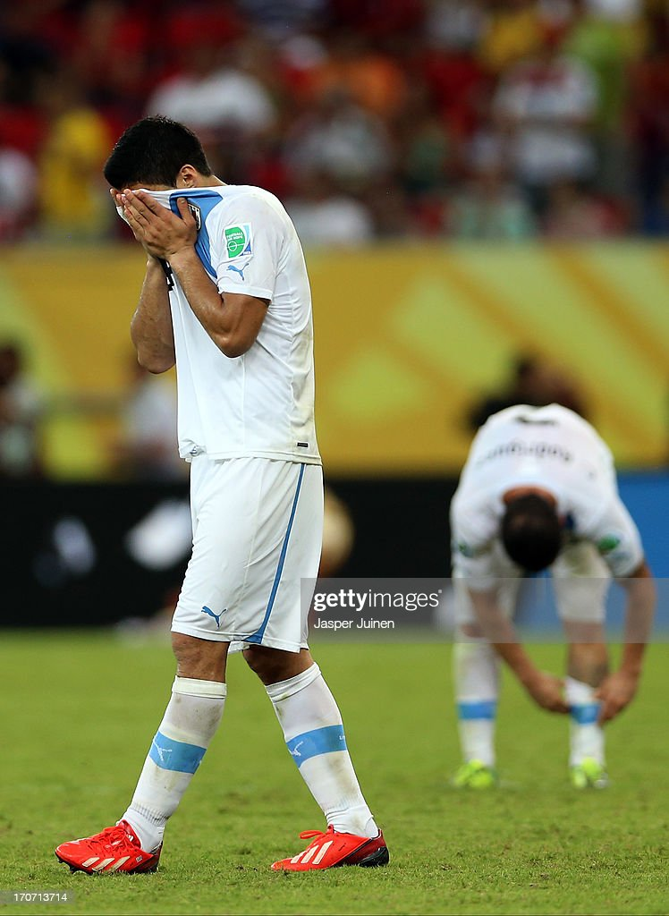 Luis Suarez of Uruguay shows his dejection at the end of the FIFA Confederations Cup Brazil 2013 Group B match between Spain and Uruguay at the Arena Pernambuco on June 16, 2013 in Recife, Brazil.