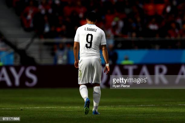 Luis Suarez of Uruguay walks across the pitch during the 2018 FIFA World Cup Russia group A match between Egypt and Uruguay at Ekaterinburg Arena on...
