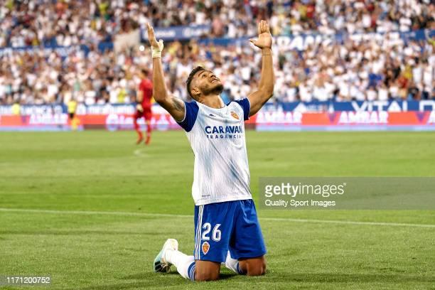 Luis Suarez of Zaragoza celebrates their team's first goal during the La Liga Smartbank match between Zaragoza and Elche CF at La Romareda on August...