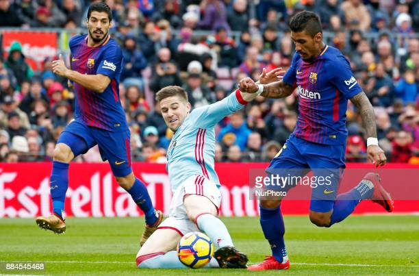 Luis Suarez Paulinho Bezerra and Roncaglia during the Copa del Rey match between FC Barcelona v Real Murcia CFi n Barcelona on November 29 2017 Photo...