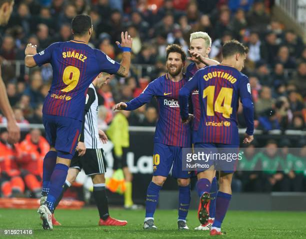 Luis Suarez Philippe Coutinho Leo Messi and Ivan Rakitic of FC Barcelona celebrates a goal during the spanish Copa del Rey semifinal second leg match...
