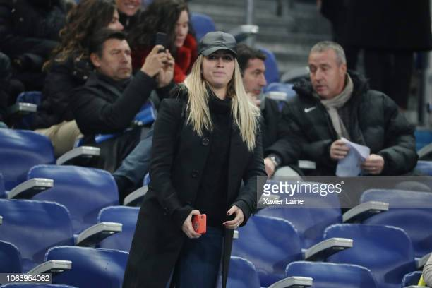 Luis Suarez wife Sofia Balbi reacts before the International Friendly match between France and Uruguay at Stade de France on November 20 2018 in...