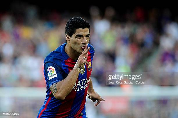 Luis Suárez of FCBarcelona celebrating his goal during the Spanish League match between FC Barcelona vs Real Betis Balompié at Nou Camp on August 20...