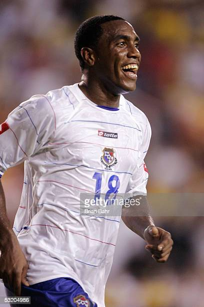 Luis Tejada of Panama is all smiles after scoring against Columbia with a header during Round One of the FIFA 2005 CONCACAF Gold Cup at the Orange...