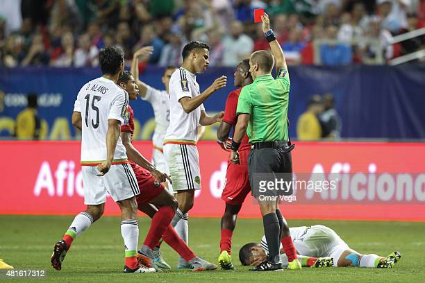 Luis Tejada of Panama receives a red card during a semi final match between Mexico and Panama as part of Gold Cup 2015 at Georgia Dome on July 22...