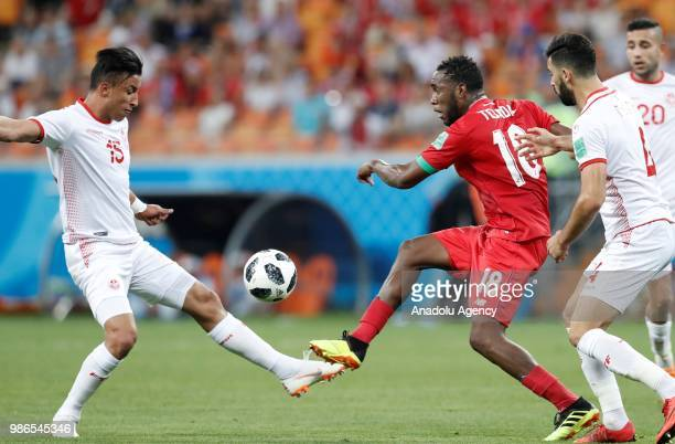 Luis Tejada of Panama struggles with his competitors Yassine Meriah and Ahmed Khalil of Tunisia during the 2018 FIFA World Cup Russia Group G match...