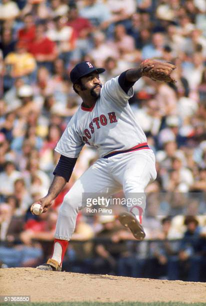 Luis Tiant of the Boston Red Sox delivers a pitch during a game circa 19711978