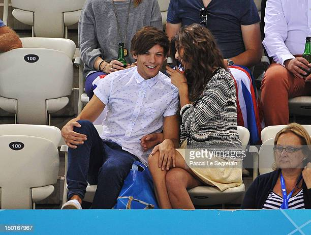 Luis Tomlinson of One Direction and girlfriend Eleanor Calder attend the Men's 10m Platform Diving Final on Day 15 of the London 2012 Olympic Games...