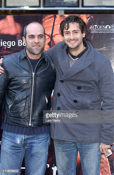 Luis Tosar and Juan Diego Botto during Promotional Photocall for the New Spanish Film '13 Campanadas' at Princesa Cinema in Madrid Spain