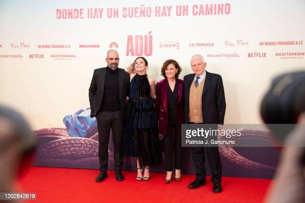 Luis Tosar Anna Castillo Carmen Calvo and Paolo Vasile attend 'Adu' premiere at Callao Cinema on January 28 2020 in Madrid Spain