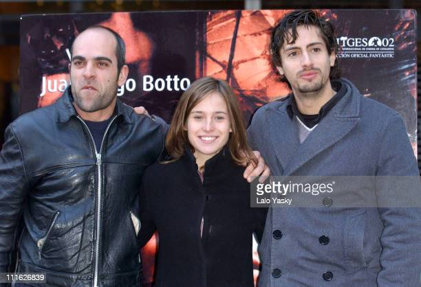 Luis Tosar Marta Etura and Juan Diego Botto during Promotional Photocall for the New Spanish Film '13 Campanadas' at Princesa Cinema in Madrid Spain