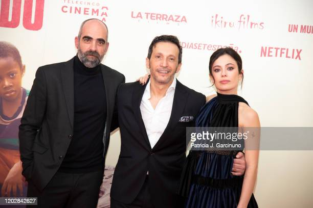Luis Tosar Salvador Calvo and Anna Castillo attend 'Adu' premiere at Callao Cinema on January 28 2020 in Madrid Spain