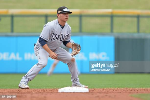 Luis Urias of Peoria Javelinas in action against the Mesa Solar Sox in the Arizona Fall League game at Sloan Park on November 11 2017 in Mesa Arizona