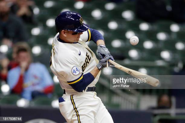 Luis Urias of the Milwaukee Brewers breaks his bat on the swing in the fourth inning against the St. Louis Cardinals at American Family Field on May...