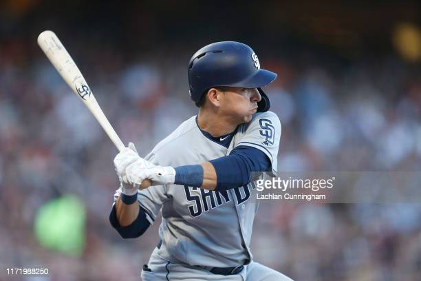 Luis Urias of the San Diego Padres at bat against the San Francisco Giants at Oracle Park on August 31 2019 in San Francisco California